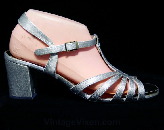 46146 NOS Toe Size 6 Metallic Shoes 60s Strap Silver Evening 2 Cocktail Sandals 1 Open Glam 1960s 5 2 T Sparkling 6 Pump Deadstock rTwqnPFTB