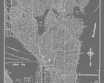 Seattle Map - Seattle Map Art Poster Gray- Seattle Street Map Print Poster