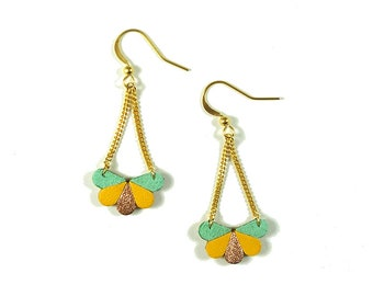 Butterfly earrings in saffron yellow leather, mint velvet and rose gold