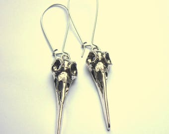 Silver Bird Skull Earrings Silver Plated Long Dangle Boho Jewelry