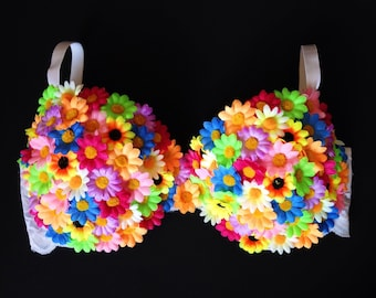 Multicolored Flower Rave Bra