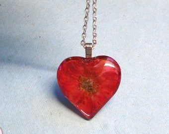 Real Red Rose Pressed Flower Heart Glass Necklace