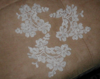 Vintage French Chantilly Lace Appliques ivory