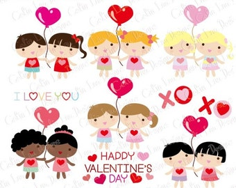 Valentine Kids Clipart , Valentine Baby Clipart, Kawaii Kids Clipart , Happy Valentine's Day (CG121) / INSTANT DOWNLOAD