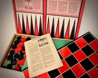 Vintage Deluxe Edition Backgammon and Checkers Board Games - COMPLETE