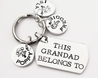 Grandad gift grandchildren This Grandad belongs to unique hand stamped personalised keyring great Fathers day or birthday gift for him
