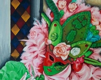 "Large original acrylic painting ""pink and green mask"" Venice Carnival painting Opal Isis on Etsy"