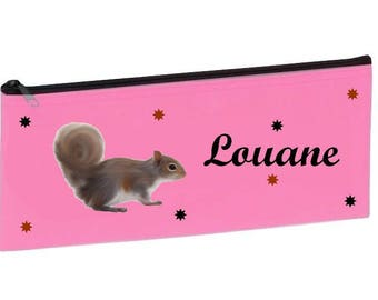 Personalized with name pink squirrel School Kit