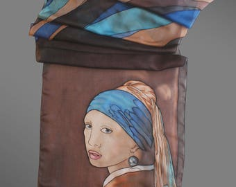 Girl with a pearl earring silk scarf. Hand painted silk scarf inspired by Johannes Vermeer. Art lover gift. Art to wear.  Made to order.