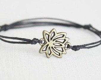 Lotus Flower Bracelet or Anklet In Antique Brass, Bronze Bracelet, Flower Bracelet, Floral Bracelet, Lotus Bracelet, Meditation, Yoga Gift