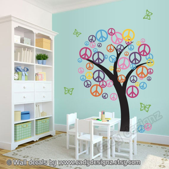 Peace Tree Sign Wall Decal b/f