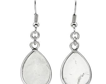 Dangle earrings silver plated - crystal drop