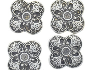 Button Cover , clover design  , set of 4 each , antique silver finish , 30mm , BC27AS