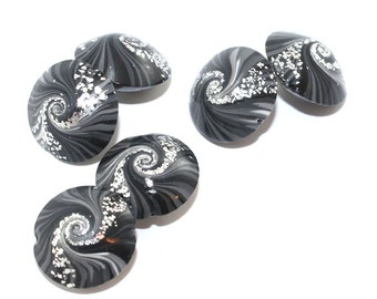 Spiral stripes focal beads, swirl lentil beads in black, gray and  silver, Jewelry supplies, elegant beads Set of 6