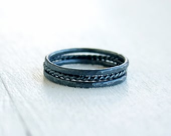 GET 1 FREE WITH Three Stacking silver rings / hammered stacking rings twisted wire ring in oxidized silver / simple stacking rings Handmade