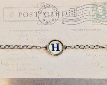 Hattie - typewriter style initial bracelet - custom bracelet - monogram bracelet - vintage style bracelet - letter bracelet