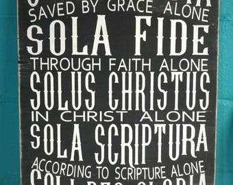 The 5 Solas Sign, The Five Solas Sign, Reformation Sign, Reformation Anniversary, Hand Painted Wood Sign