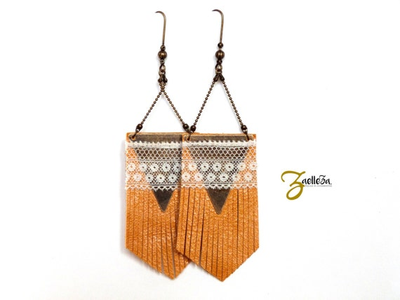 "Leather earrings yellow fringes, triangle and lace TOTEM - Collection ""Indian summer"""