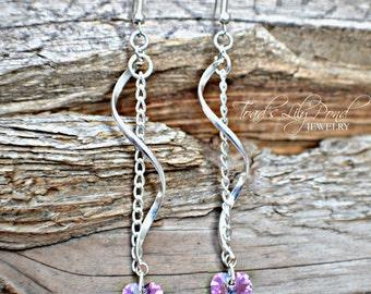 SALE | Crystal Pink Heart Earrings - Silver Spiral Earrings - Spiral Earrings -  Pink Crystal Heart Earrings - Swarovski Crystal