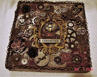 Wall decor, steampunk mixed media, one of a kind signed canvas.