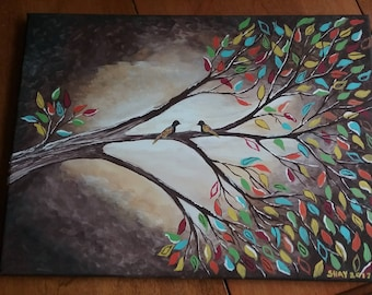 Tree Branch with colorful leaves , Watercolor Painting.