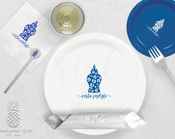 Ginger Jar | Printed Plates, Napkins, Cups or Cocktail Stir Sticks | social graces and Co