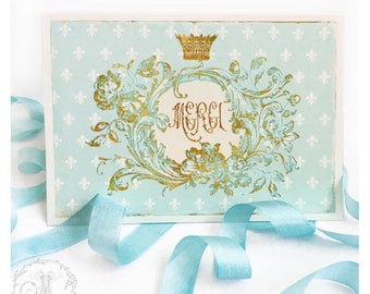 Merci card, French thank you card, with fleur-de-lis and gold crown, blank inside