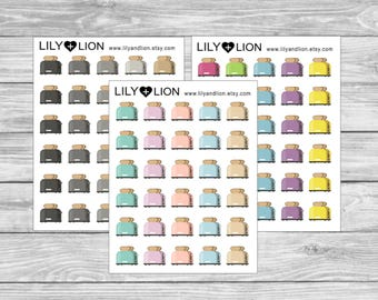 TOASTER Mini Icon Planner stickers - Toast breakfast cooking meals - erin condren plum paper happy planner recollections food