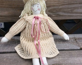 Vintage Shabby Chic Handmade RagDoll with Off White Crochet Dress and matching Hat, Pink Ribbons, Collectible Rag Doll, Girl's Nursery