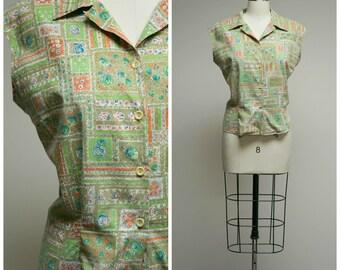 Vintage 1950s Shirt • Casual Roses • Green Blue Orange Floral Print Cotton 50s Sleeveless Blouse Size Medium Large