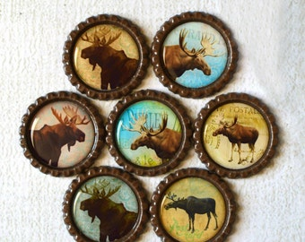 Moose Bottlecap Magnets- Rustic Home Decor- Lake House, Cabin, Log Cabin, Outdoor, Mountain, Lodge Decor- Fridge Magnets- Wildlife Magnets