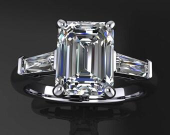 laurel ring – 1.75 carat emerald cut NEO moissanite engagement ring, baguette ring