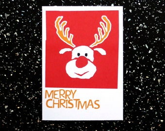 Christmas Card - Reindeer illustration - Rudolph the red nose reindeer - Merry Christmas