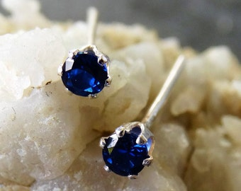 Sapphire stud earrings - blue sapphire jewellery - small stud earrings - small earrings - sterling silver earrings - minimalist earrings