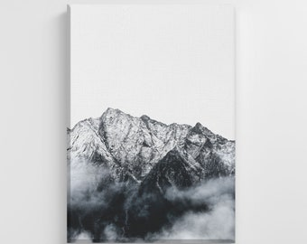 Cloudy Mountain Peaks Large Canvas Nature Art Print Stylish Home Decoration Wall Art Nursery Decor Living Room | IC158