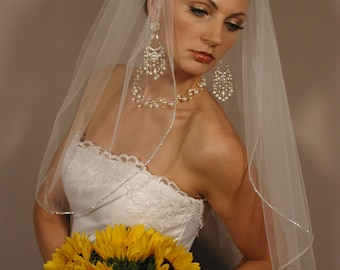 "Wedding veil with swaroyski crystal edging. Bridal veil 25"" length with rhinestones edging."