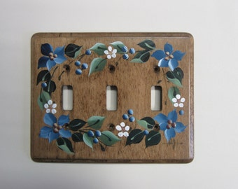 Triple Switch Wood Switch Plate  Triple Toggle  with Blue flowers