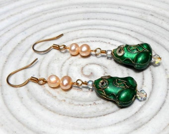 Cloisonne Frog and Freshwater Pearl Dangle Earrings