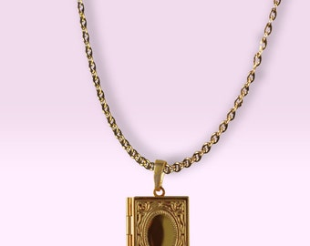 18K Gold Plated Solid Perfume Locket