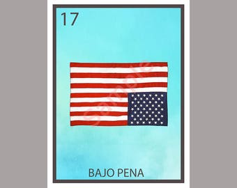 Under Distress - Political Loteria Card - Bajo Pena - Original Anti-Trump Greeting Card Art - Donation to ACLU