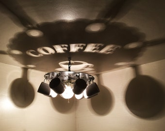 Coffee Cup Light, Chandelier, Coffee, Cup, Gift, Light, Lighting,  A