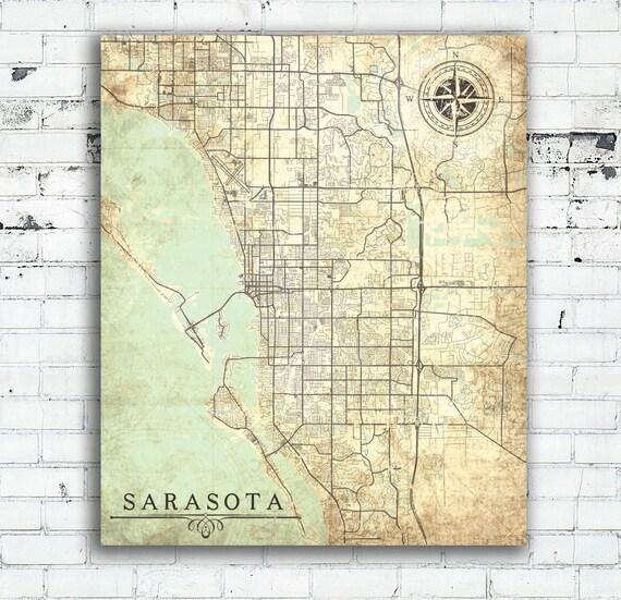 SARASOTA FL Canvas Print Florida Vintage map Sarasota Fl City