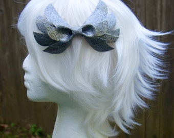 Silver Glitter Angel / Wing Hair Bow Clip