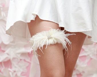 Wedding Garter - Soft Ivory Chiffon, Hand Frayed, Ostrich feathers and Rhinestones