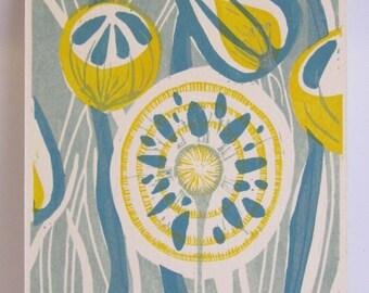 Flowers Linocut Postcard