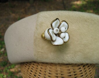 Vintage Hat Pin Trifari Camellia White Milk Glass Flower