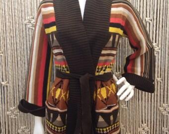 Incredible 1970s shawl collar knit wrap cardigan