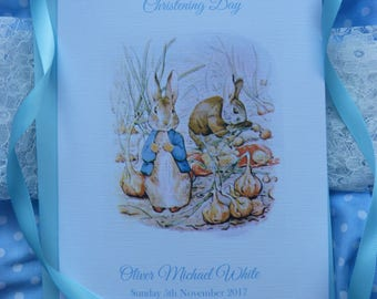 Personalised Handmade Peter Rabbit Christening / Baptism / Naming Day Card ..Girl or Boy