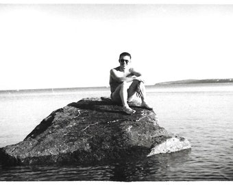 """Vintage Snapshot """"Like A Rock"""" Cute Barefoot Guy Perched On A Rock Shirtless Man Black & White Found Photo Vernacular Photography"""