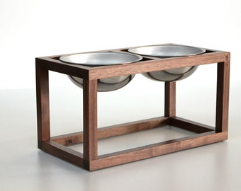 Modern Wood Dog Feeder - Double